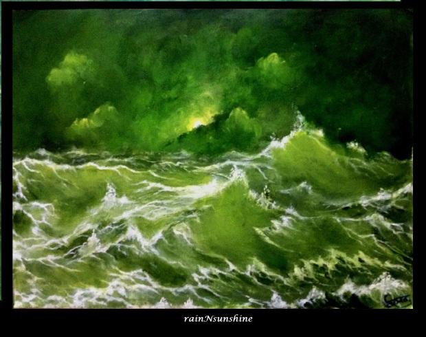 sea storm _oil painting by rainNsunshine