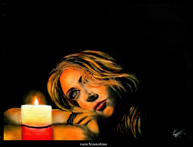 candlelight _ oil on paper by rainNsunshine