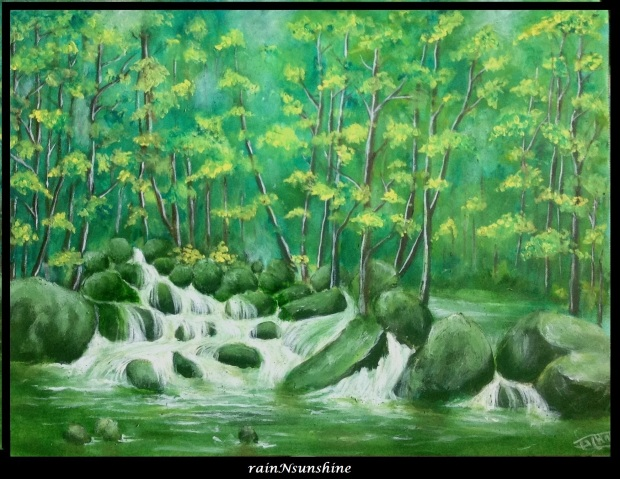 jungle stream _oil painting by rainNsunshine frame
