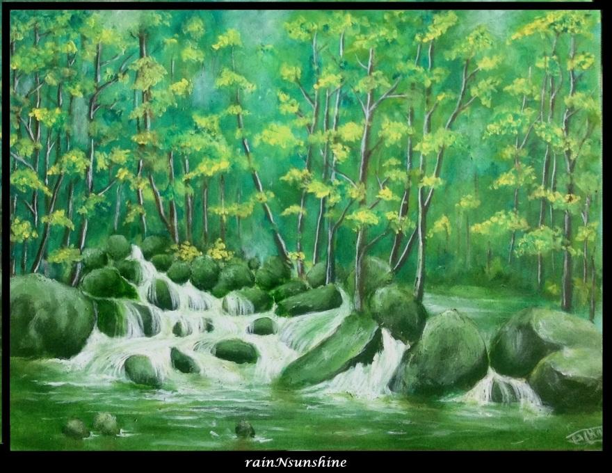 jungle stream _oil painting by rainNsunshine frame