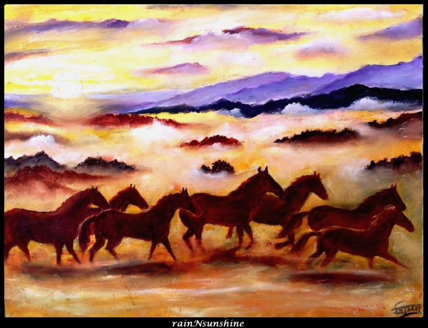 sunset horses _ oil painting by rainNsunshine _frame