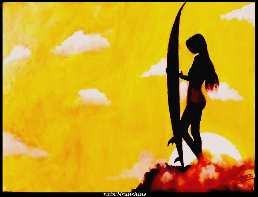 surfer girl_ oil painting by rainNsunshine _frame
