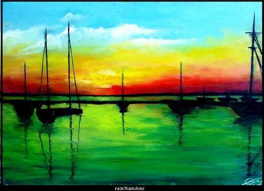 broekn rainbow_ oil painting by rainNsunshine  - frame