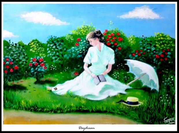 daydream_ oil painting by Trinath Sen