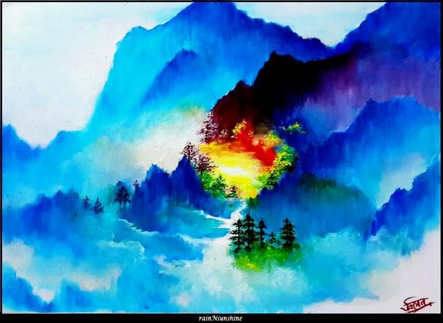 somewhere _ oil painting in progress by rainNsunshine_ frame - res
